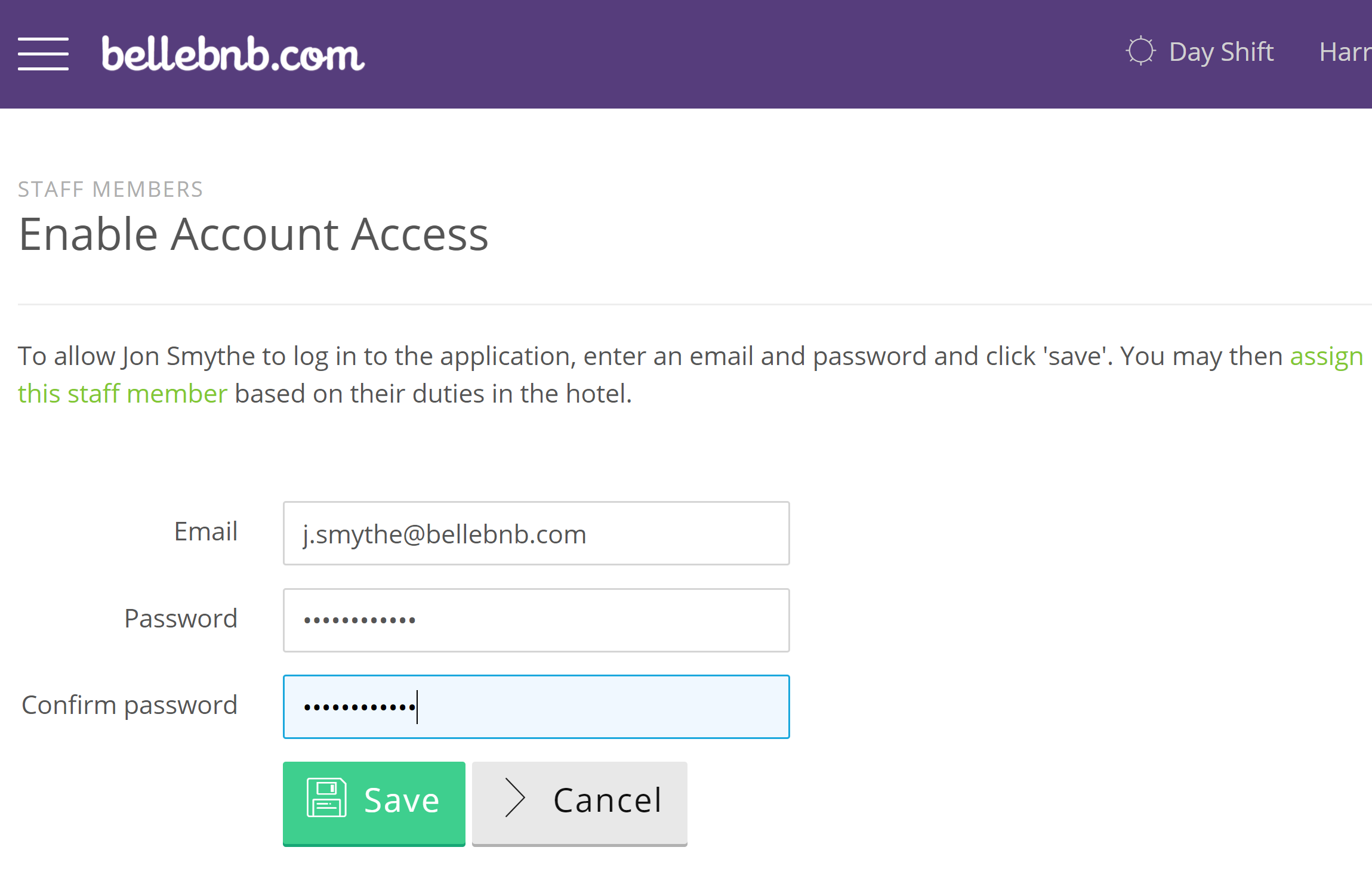 There are three basic types of account users: Account Owner, Property Managers, and Hotel Staff. There is one Account Owner per Bellebnb.com account. This is the user that opened the account. Account Owner status cannot be assigned, transferred, or shared. The account owner has full access to every part of the system for every hotel.