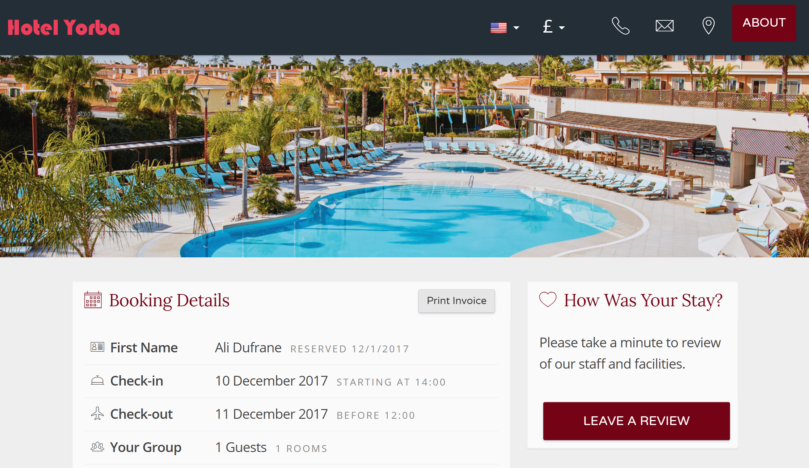 The invoice is also available to the guest after they have checked out. The guest will receive an email directing them to the guest portal section of your booking engine. From there, they can leave a review if you have enabled your review engine, or just print their invoice.