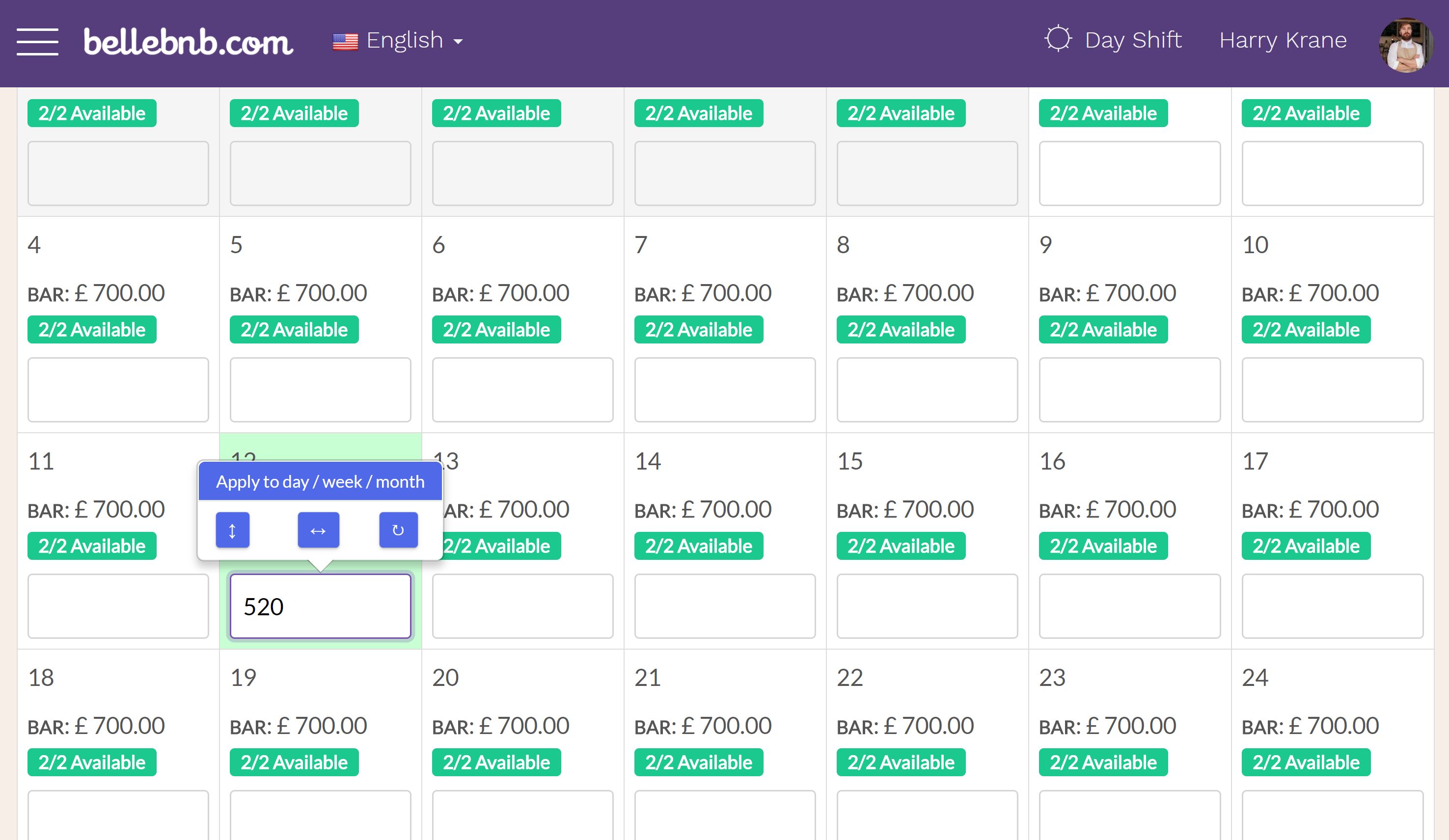 Hotel PMS Software Your room pricing calendar