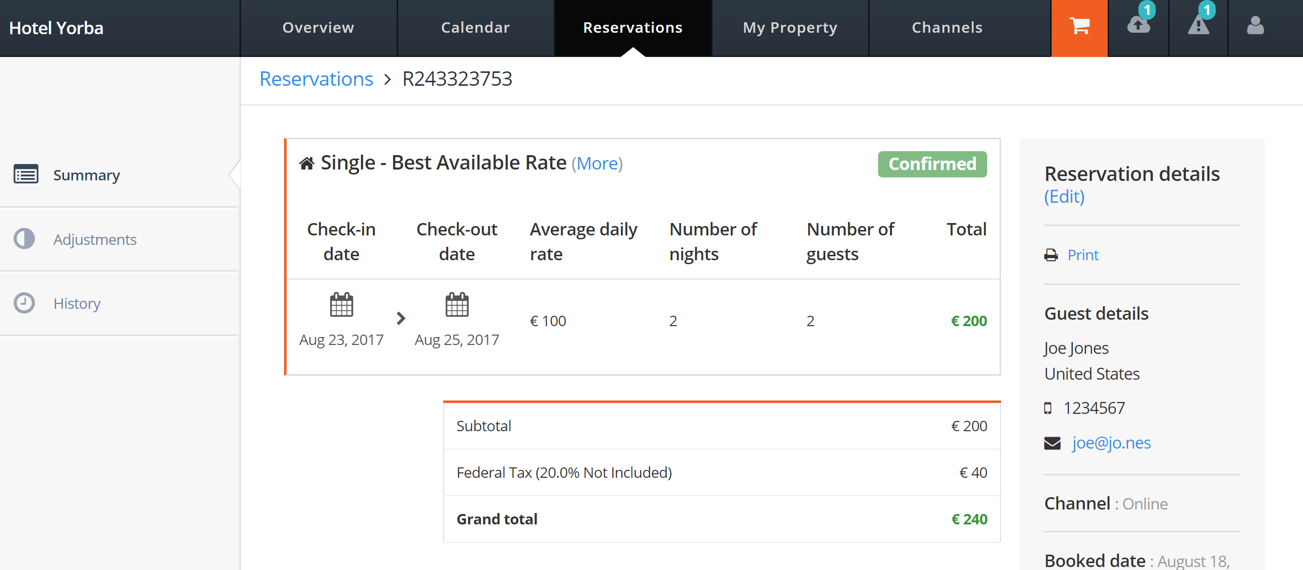 MyHotelCRS.com Click 'view' to view the details for the new reservation booking updated to 'Confirmed' in MyHotelCRS's portal