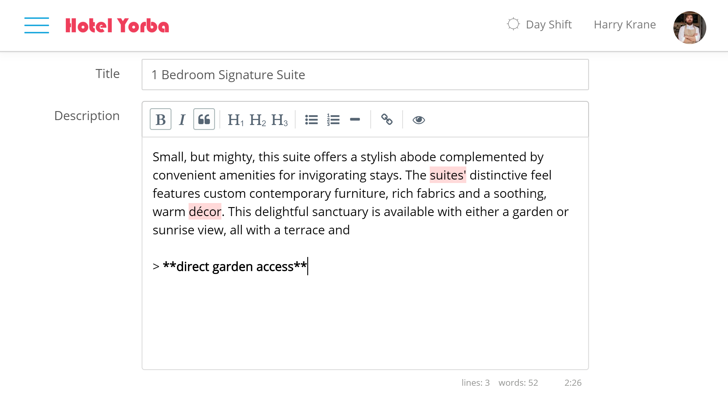 Markdown HTML Available We have updated the hotel Front Desk and hotel Booking Engine so that you can now edit room descriptions and booking engine additions in Markdown HTML! This is a significant improvement that will allow you to further personalize your booking engine to your hotel brand.
