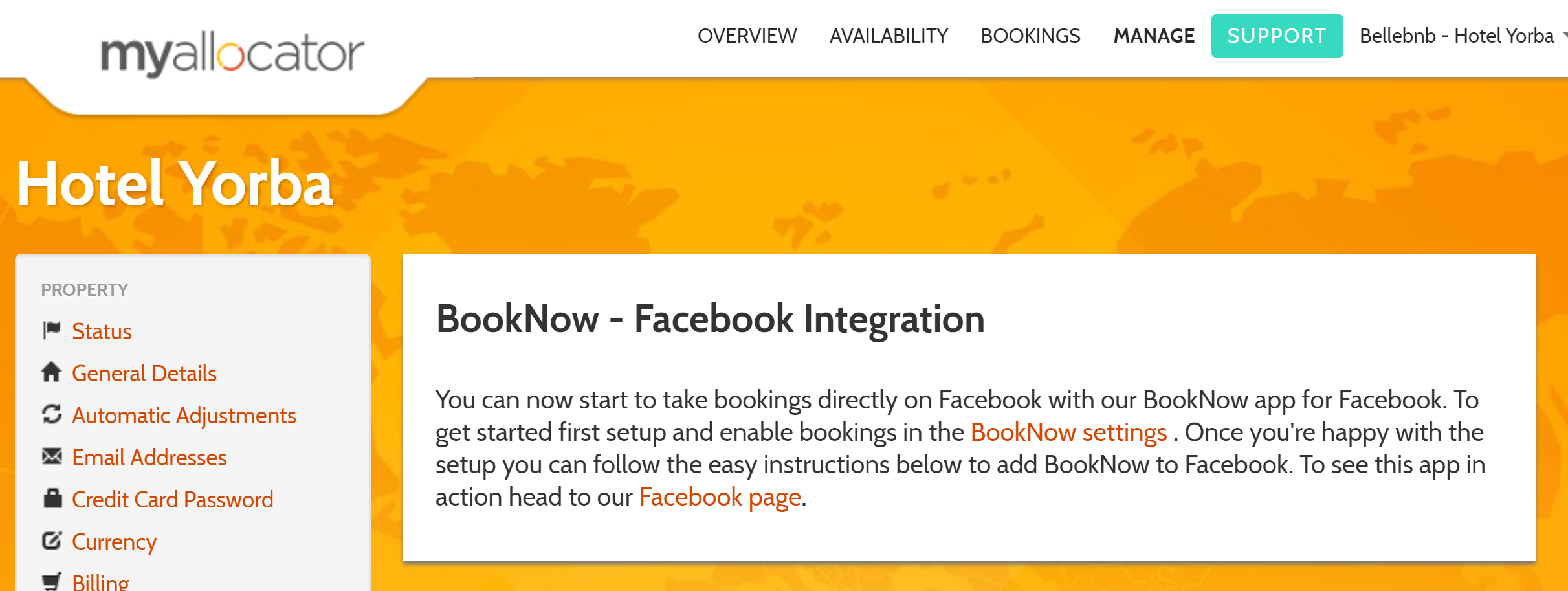 Hotel Facebook Page Integration. You can accept reservations directly from your hotel's Facebook page using one of the embedding widgets available through our channel manager. Adding a booking widget can be done in just a couple of steps, and all your reservations that come in through your Facebook page are commission free