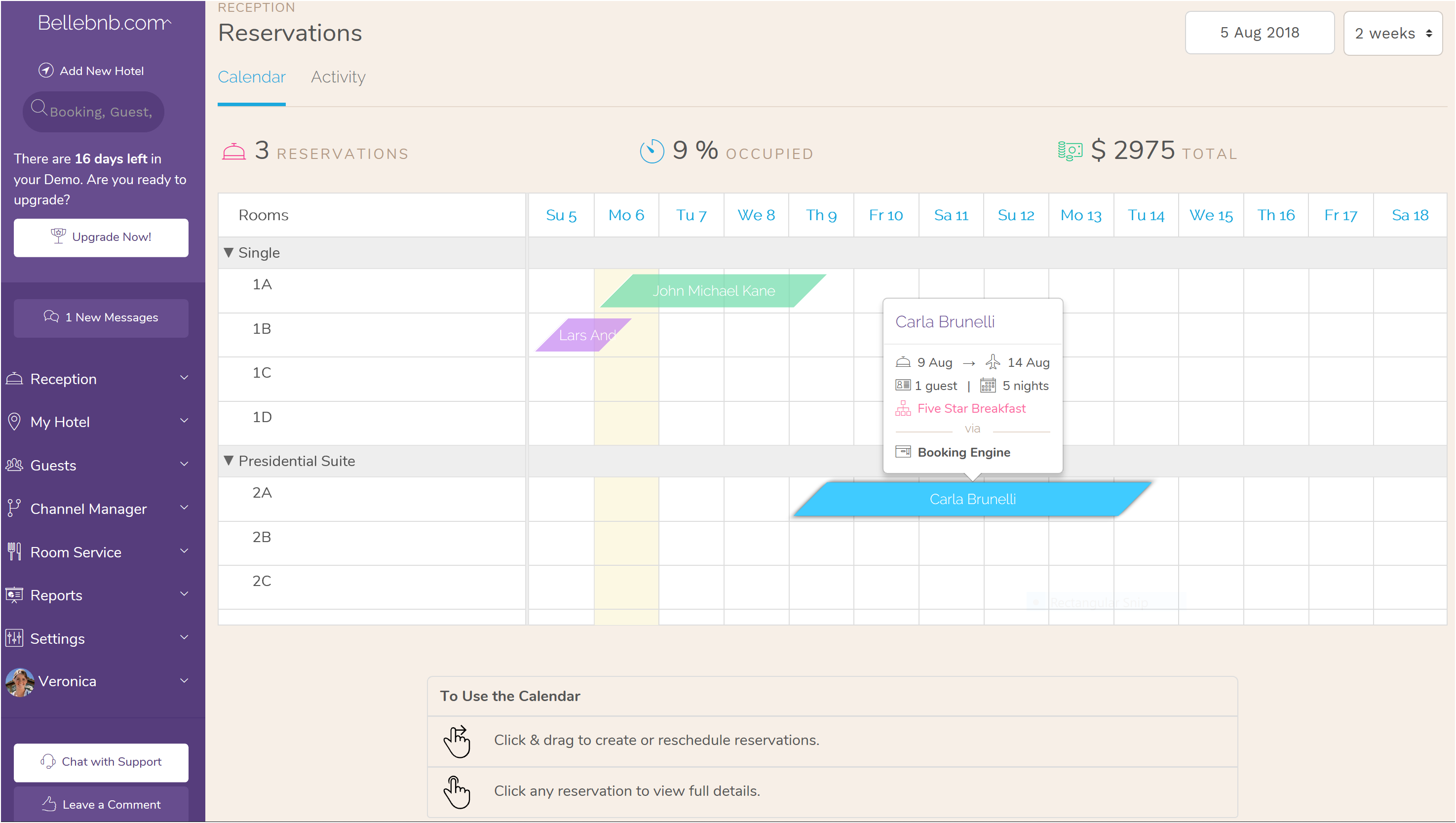 Your Hotel Front Desk Reservation Calendar Drag and Drop, for Hotel Property Management System (PMS) Features.