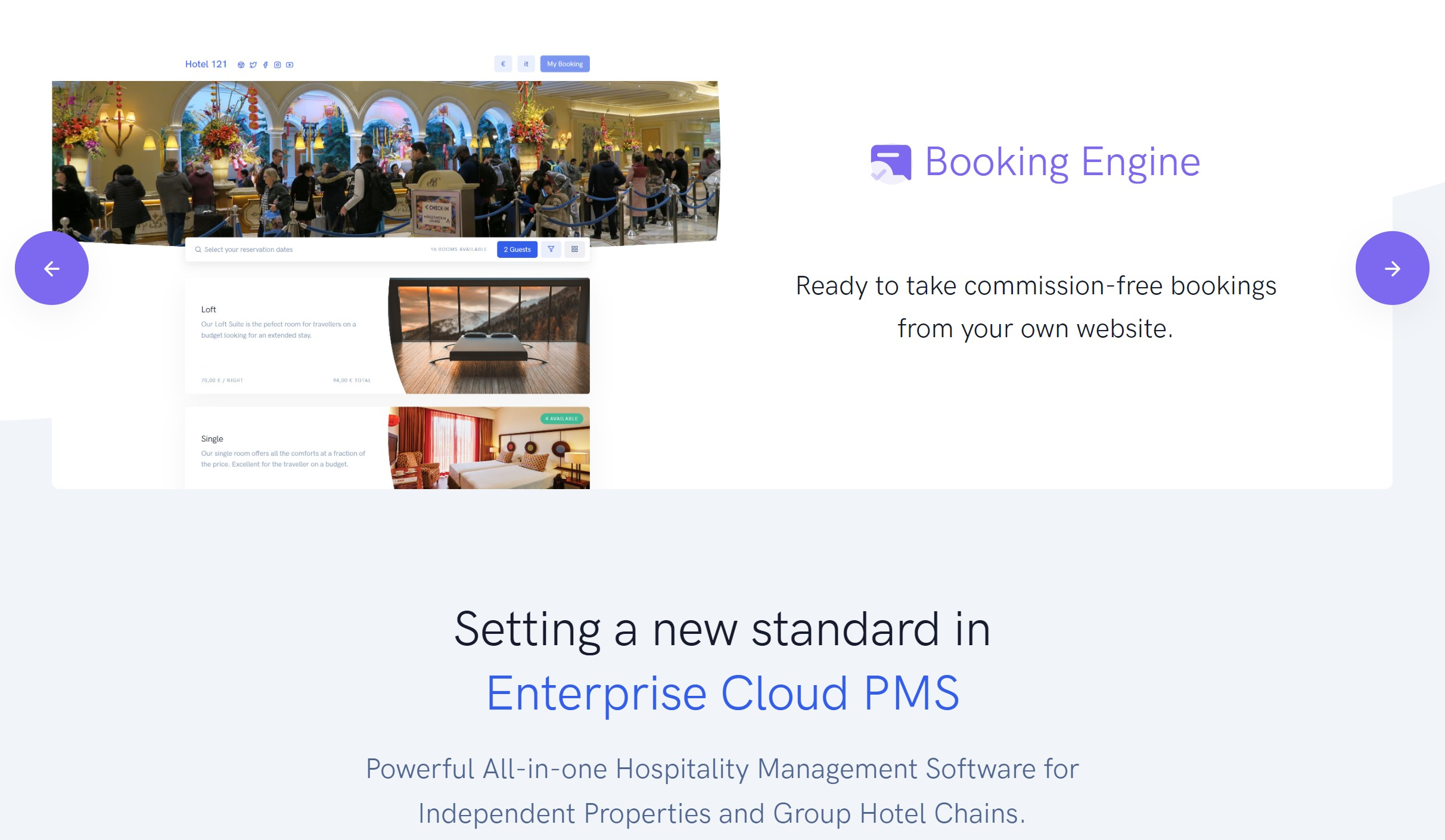 Hotel Hotel Booking Engine | Direct Booking Engine by MyHotelPMS Reservation Calendar.