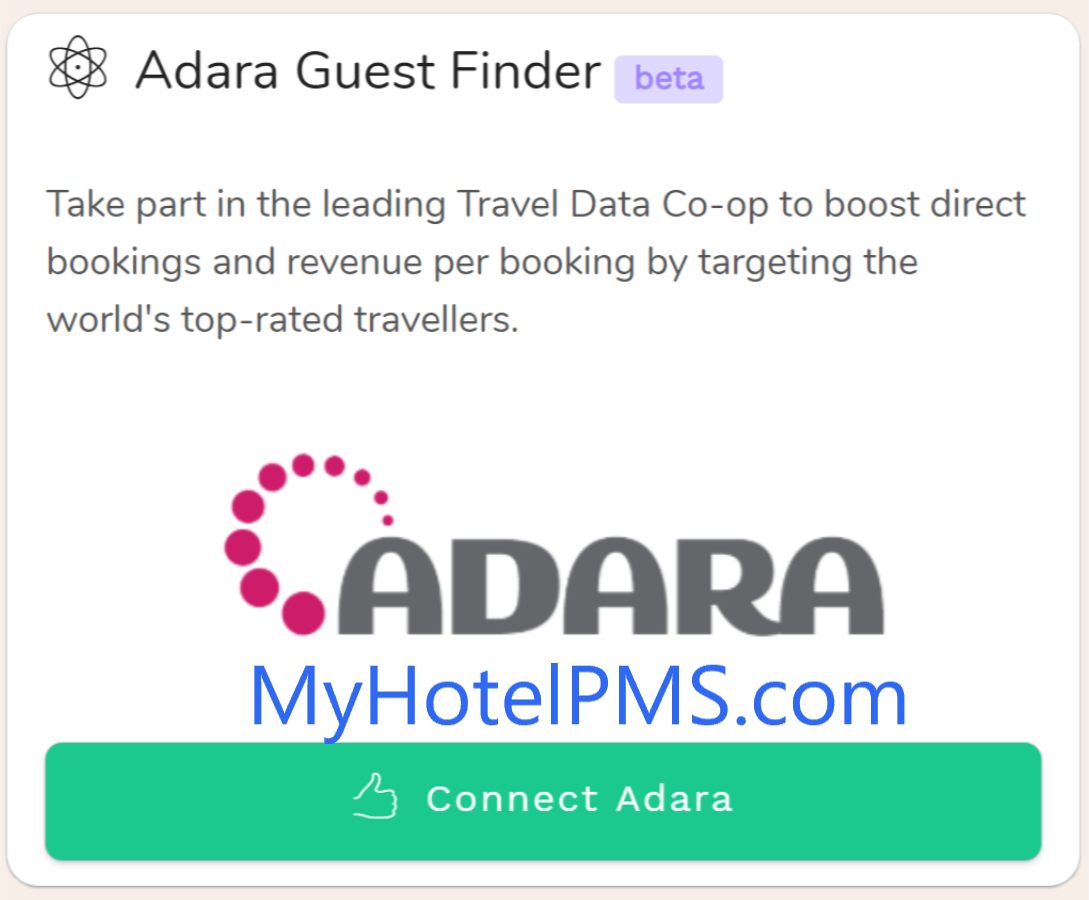 ADARA GuestFinder + Bellebnb Hotel Ads With MyHotelPMS+Adara GuestFinder you only pay for active stays, not search engine clicks!